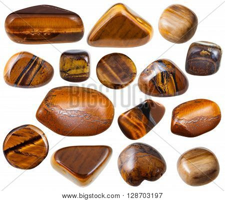 Set Of Tigers Eye Mineral Stones Isolated