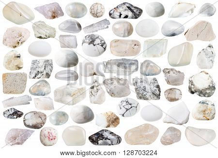 Set Of White Mineral Stones And Gemstones