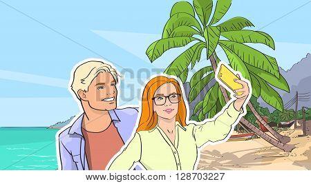 Couple Take Selfie Photo Beach Sea Shore On Cell Smart Phone, Man Woman Summer Vacation Tropical Seascape Vector Illustration