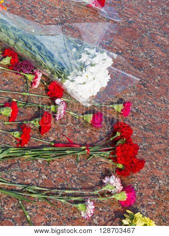 a lot of red carnations white chrysanthemums are on a glossy red granite stone in the day of mourning