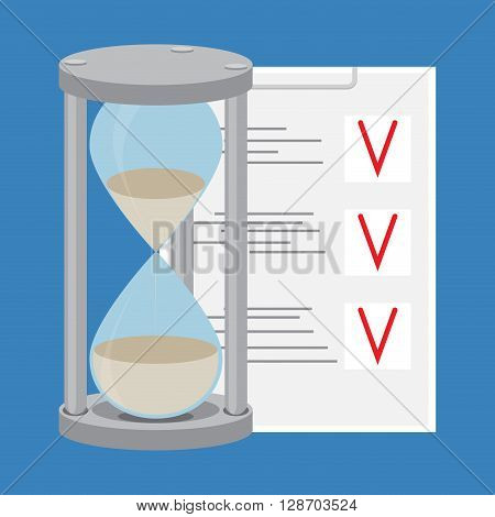 Time management. To-do list and hourglass. Time is money and clock management time concept and project management. Vector flat design illustration