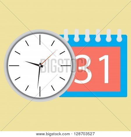 Time planning clock with calendar date. Plane and strategy business plan and plan icon planning process business day and calendar time month event. Vector flat design illustration
