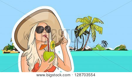 Woman Hat Sunglasses Drink Coconut Cocktail Beach Tropical Island Summer Vacation Vector Illustration