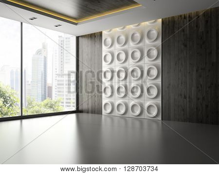 Interior of empty room with wall panel 3D rendering