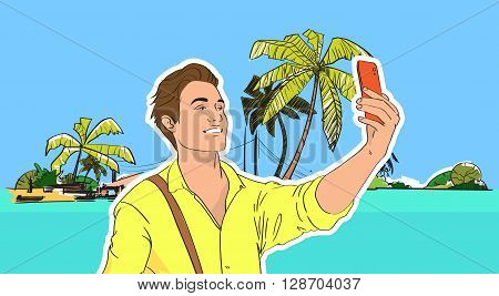 Young Man Take Selfie Photo Beach Sea Shore On Cell Smart Phone Tropical Summer Vacation Vector Illustration
