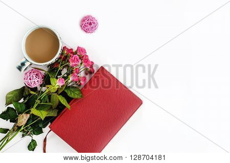 Stylish Roses And  Coffee And Notebook On White Background, Flat Lay, Space For Your  Text, Holiday