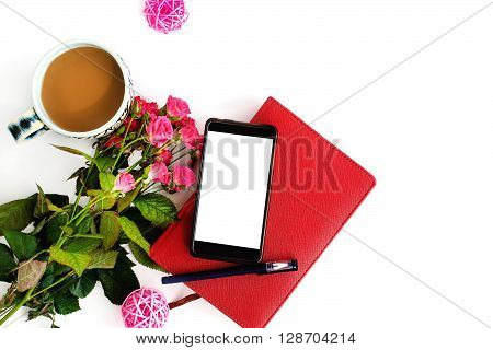 Stylish Phone With Empty Screen And Roses Coffee And Notebook On White Background, Flat Lay, Space F