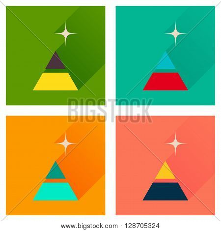 Concept of flat icons with  long shadow financial pyramid