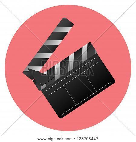 Icon slapstick. Cinema item. Slapstick film sign and equipment for entertainment movie video. Vector flat design illustration