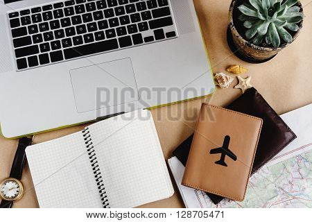 Time To Plan Travel Concept, Stylish Notebook Map And Passport On Craft Background