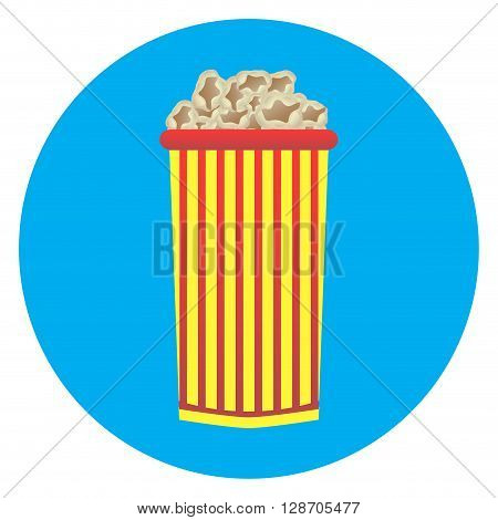 Cardboard cup of popcorn icon. Movie and cinema popcorn box or popcorn isolated. Vector flat design illustration