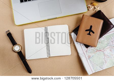 Time To Plan Travel Concept, Stylish Notebook Map Watch And Passport On Craft Background