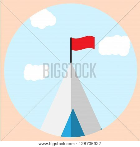 Top of mountain with flag goal icon. Mountain climbing and mountain peak mountain top view and mountain landscape top. Vector flat design illustration