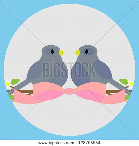 Sweethearts on a branch icon. Valentine and wedding valentines day and love couple bird on branch and sweetheart love. Vector flat design illustration