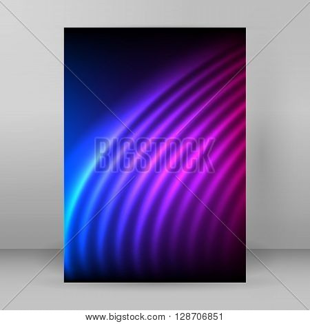 Glowing Curved Lines Purple Background Magazine Format A4