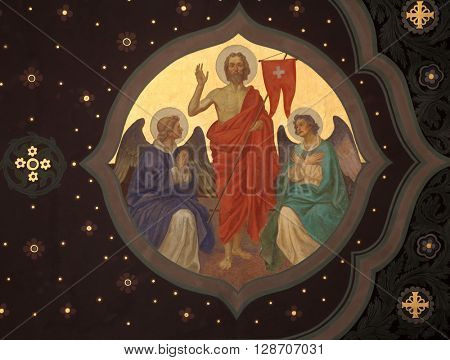 OBERSTAUFEN, GERMANY - OCTOBER 20: Resurrection of Christ, fresco in the parish church of St. Peter and Paul in Oberstaufen, Germany on October 20, 2014.