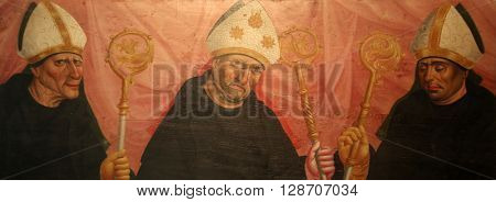 BENEDIKTBEUERN, GERMANY - OCTOBER 19: Saints, altarpiece in Saint Benedict basilica in the famous Benediktbeuern abbey, Germany on October 19, 2014.