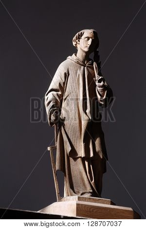OBERSTAUFEN, GERMANY - OCTOBER 20: Saint Lawrence of Rome statue in the parish church of St. Peter and Paul in Oberstaufen, Germany on October 20, 2014.