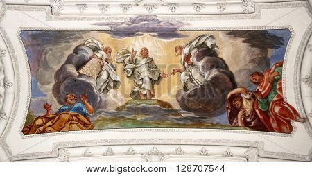 BENEDIKTBEUERN, GERMANY - OCTOBER 19: Ascension of Christ, beautiful religious fresco in Benediktbeuern, Germany on October 19, 2014.