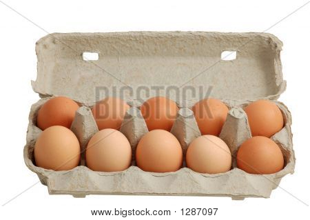 Eggs In A Box Isolated With Clipping-Path Included