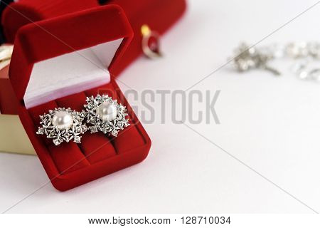 Luxury Vintage Earrings In Red Gift Box On White Background, Present And Love Concept, Valentine's D