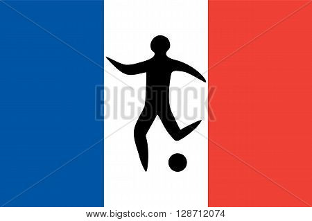 Sportsman man soccer player with ball silhouette on the background of the official national flag of France flat icon