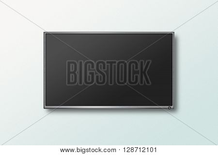 TV flat screen lcd on the wall, plasma realistic illustration. Black HD monitor mock up. Modern multimedia panel with black screen. Good way to show your business presentation on flat display.