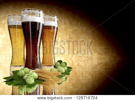 three kinds of beer with barley and hops  - 3D render