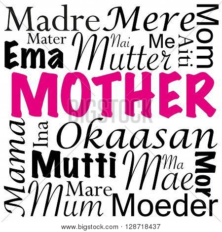 An illustration with mother written in different languages from around the world. Can be used for special occasions like Mother's Day.