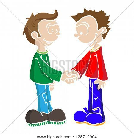 two boys shaking hands cartoon illustration