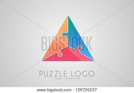 Triangle puzzle logo. Puzzle logo design. Creative logo. Color logo concept