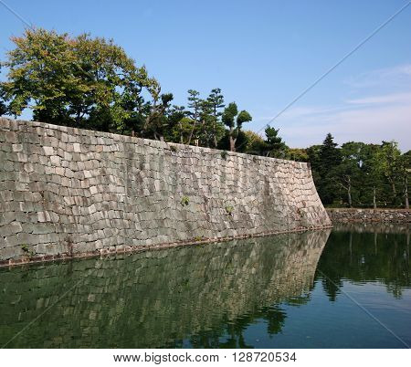 the moat of nijojo castle in kyoto japan