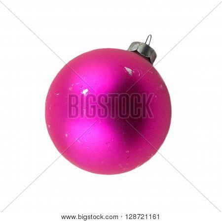 Old Christmas bauble or decoration isolated on white.