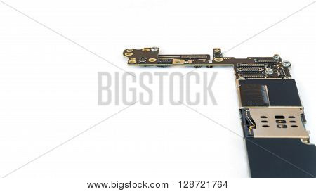 Smart phone circuit board isolate right side on white background Selective Focus Copy Space