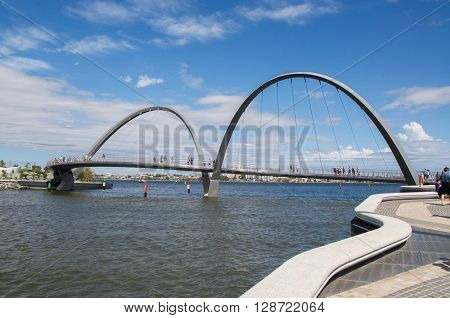 PERTH,WA,AUSTRALIA-APRIL 10,2016: Arched suspension bridge over the Swan River at Elizabeth Quay in Perth, Westenr Australia.