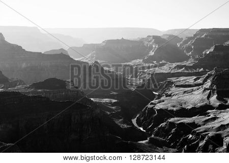 High contrast Grand Canyon black and white sunset