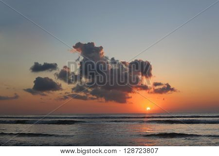 High resolution photo of beautiful sunset over the ocean