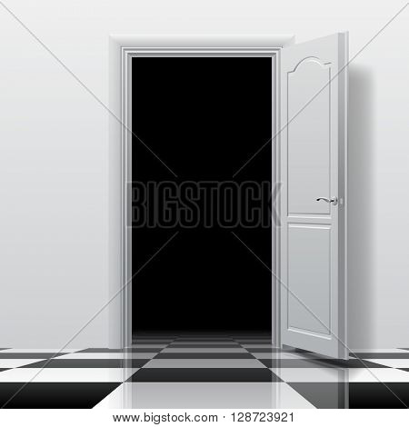 Entrance into a dark room with white open door on the glossy chess floor. Interior concept design in black and white colors. Vector illustration