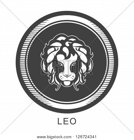 the astrological sign of Leo in a circular shape isolated black and white