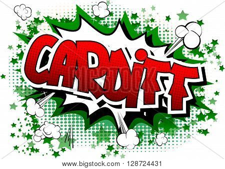 Cardiff - Comic book style word on comic book abstract background.