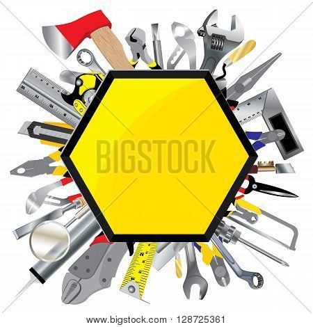 Tool design. Object tool. Tool service sign and symbol isolated on white background.