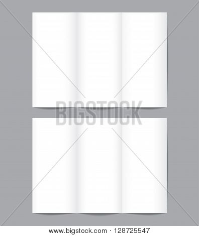Set of blank brochure mockup template in A4 size isolated on gray background. Vector illustration. Mockup for design