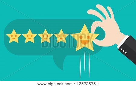 Customer review give a five star in bubble box. Positive feedback concept. Vector illustration. Minimal and flat design