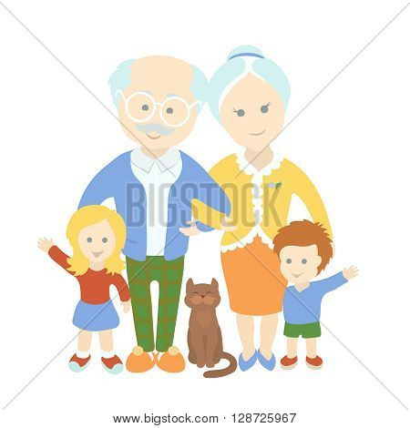 Grandparents day. Family. Grandparents with grandchildren. Happy cute old couple and cat