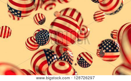 Large group of orbs or spheres levitation in empty space. 3D rendering. USA flag