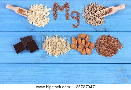 Inscription Mg ingredients and products containing magnesium and dietary fiber healthy nutrition sunflower oatmeal brown rice linseed almonds chocolate