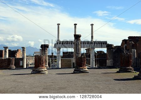 old columns building architecture in the pompei city excavation italy