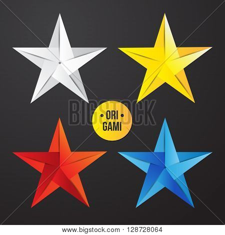 Vector paper origami star icon. Colorful origamy set. Paper design for your identity. Origamy logo modern style