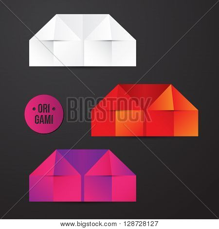 Vector paper origami house icon. Colorful origamy set. Paper design for your identity. Origamy icon real estate