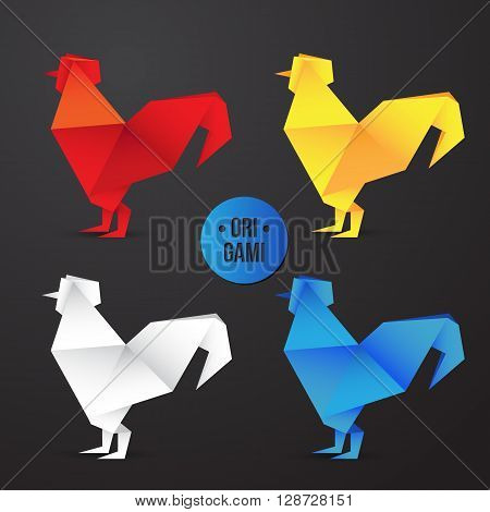 Vector paper origami rooster icon. Colorful origamy set. Paper design for your identity. Origamy icon japanese symbol of the 2017 year